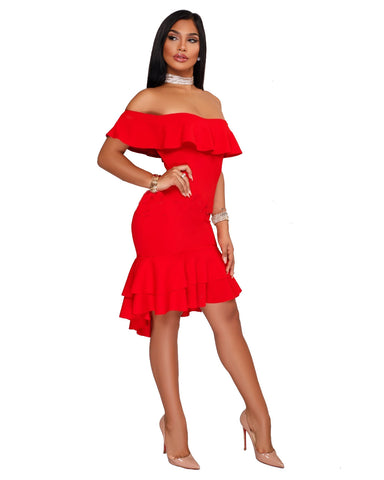 Sexy Party Burgundy Off Shoulder Ruffle Bodycon Dress