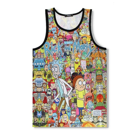 Cartoon 3D Print Loose Beach Shorts and Vest for men