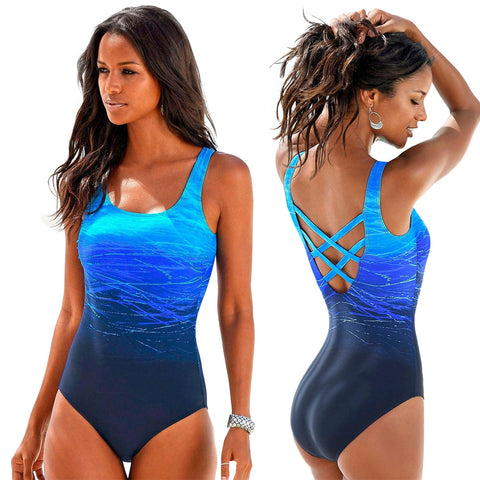 Gradient One Piece Swimsuit Women