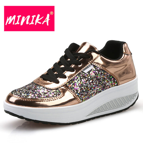MINIKA Bling Platform Sneakers Women Fashion Golden Sequin Waterproof Women Flat Shoes Spring Autumn Lace Up Casual Shoes Women