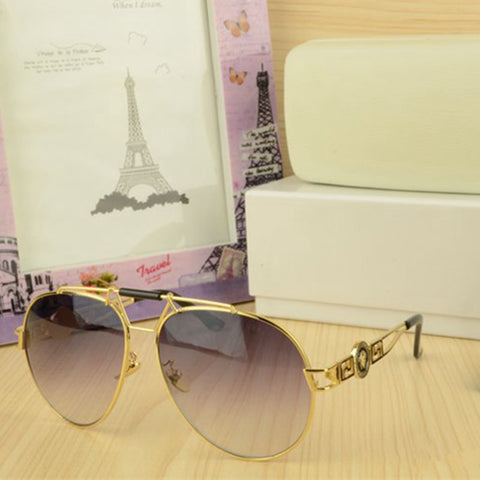 New fashion metal leather decoration luxury sunglasses