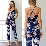Sexy V Neck Floral Printed Women Backless Overall