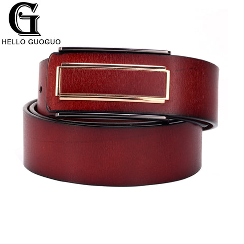 Men luxury Real Cowhide Alloy Automatic buckle belt