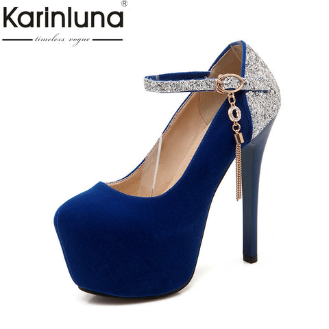 KarinLuna 2018 large sizes 34-42 Women Pumps platform woman shoes woman super high heeled bride party wedding footwear