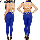 Glamaker Pearl chain long women jumpsuit