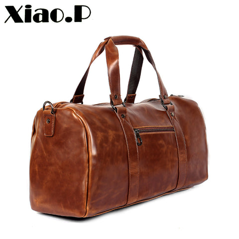 Crazy Horse PU Leather Men's Travel Bag