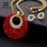 Big Red Glue Round Pendant Necklace & Earrings