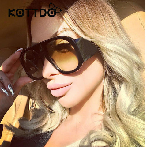 Oversized Black Vintage Gradient Lens Sunglasses