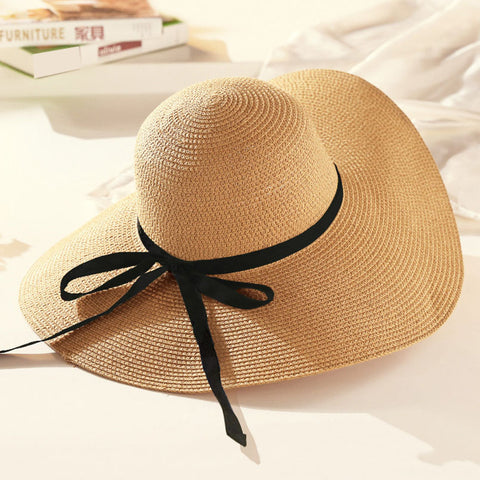 Round Top Raffia Wide Brim Straw Hat