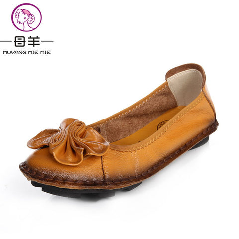 Genuine Leather Hand-sewn Female Loafers