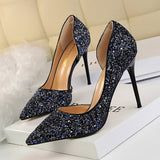 LAKESHI Women Pumps Bling High Heels Women Pumps Glitter High Heel Shoes Woman Sexy Wedding Shoes Gold Silver