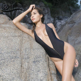 Zipper Closure One Piece Swimsuit for Women