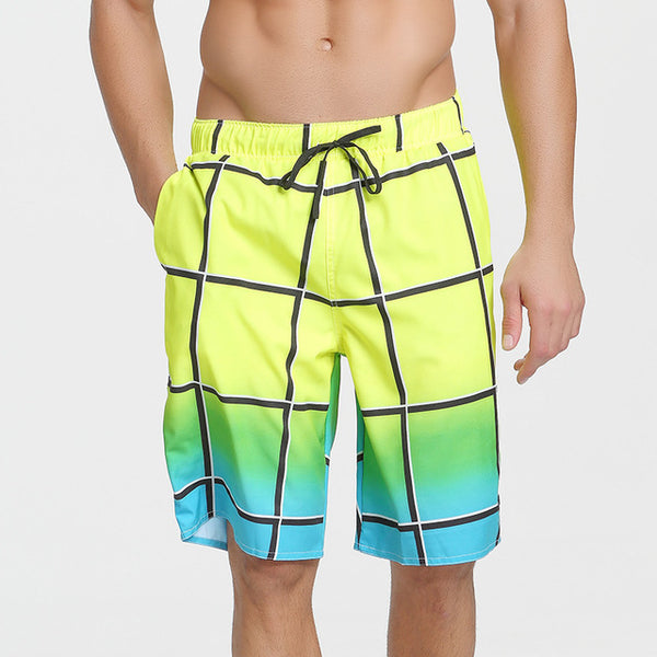 Plaid Quick Dry Surf Board Beach Shorts