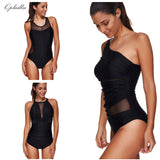 Black Mesh Bodysuit Swimwear