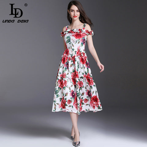 Runway Backless Holiday Floral Dress