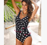 One Piece Swimsuit Plus Size Retro Vintage  Beachwear