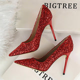 Women Pumps 2018 Fashion High Heels Wedding Party Bling Women Heels Glitter Female Pumps Shoes Woman Red Gold Sliver Stiletto
