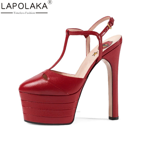 LAPOLAKA Big Size 33-42 Rivets Women Summer Shoes Woman 2017 Super High Heels Platform Party Wedding Sandals 15 Colors