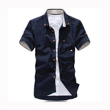 Mushroom Embroidery Men's patchwork Casual Shirts