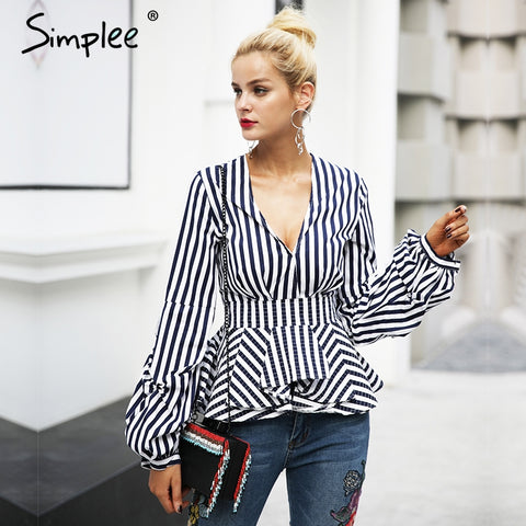 Simplee Ruffle v neck blouse