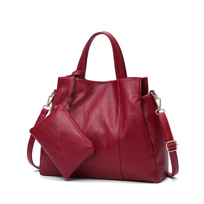 High Quality PU Leather Solid Tote Bag For Women