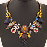 Vintage Collar snake Crystal Flowers Necklace