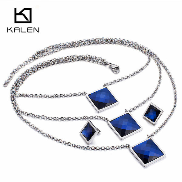 Big Blue Square Glass Pendant Choker Necklace & Earrings For Women