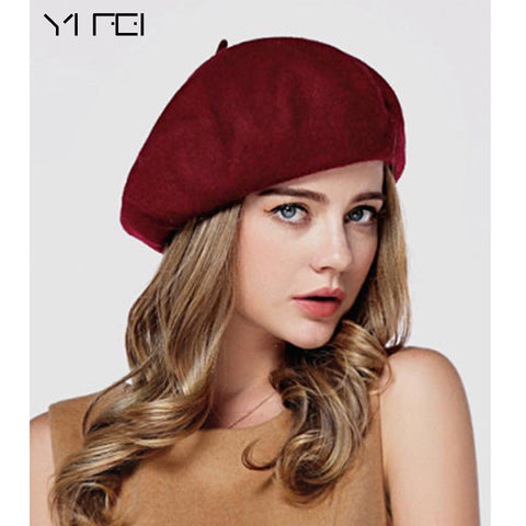 Winter Women Vintage Berets Wool Cap