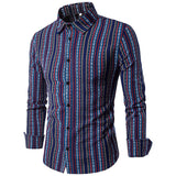 Turn-down Collar Striped Shirts for Men