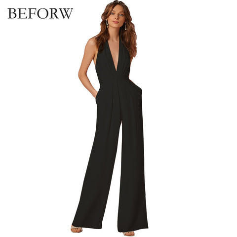 New Wedding Sexy Sleeveless Halter Elegant Jumpsuit