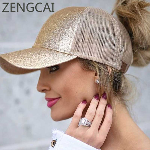CC Glitter Ponytail Baseball Cap For Women