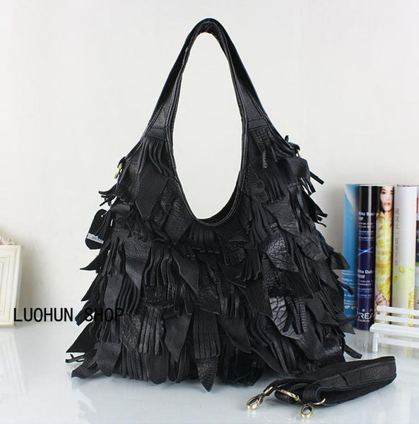 Genuine Leather Luxury Tassels Top-Handle Handbags