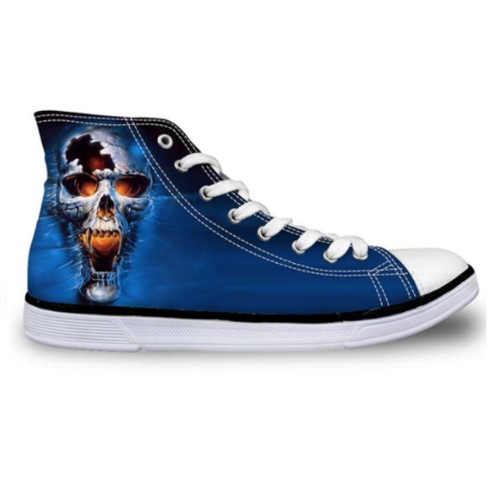 Blue Vamp Skull Canvas Shoes - Men's High Top