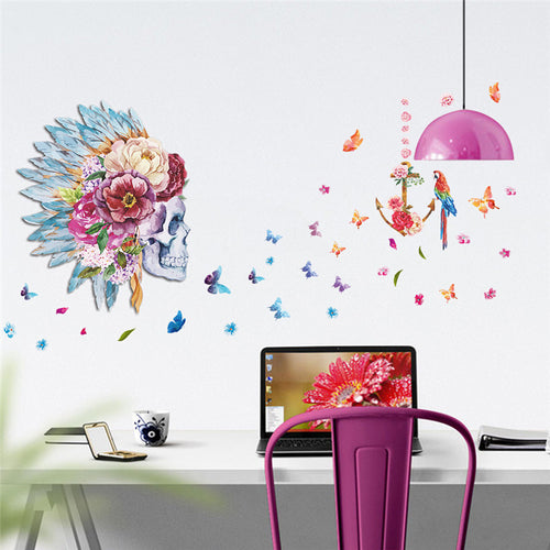 Flower Skull Head with feathers and butterflies Wall Decal