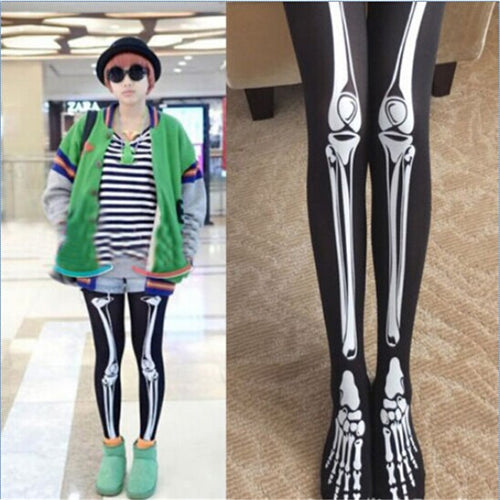 3D Print  - Black Skeleton Leggings