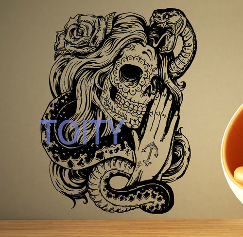 Vinyl Wall Decal   Mexican Girl Day Of The Dead