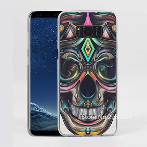 Trippy Skull Pattern Clear Phone Shell Case for Samsung Galaxy S8Plus S6 S7 edge S8 S5mini Note5