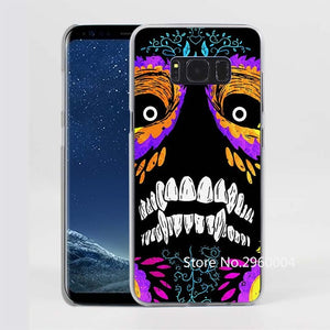 Creepy Skull Pattern Clear Phone Case for Samsung Galaxy Phones