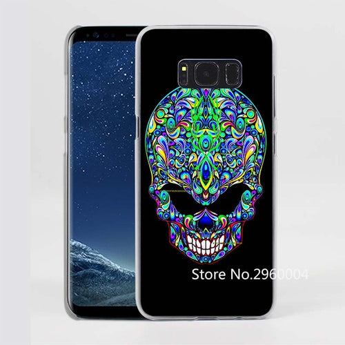 Alien Skull Pattern Clear Phone Case for Samsung Galaxy Phones