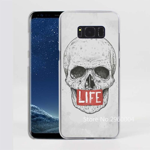 Skull Pattern (LIFE) Clear Phone Case for Samsung Galaxy Phones