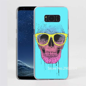 Cool Skull Pattern Clear Phone Case for Samsung Galaxy Phones