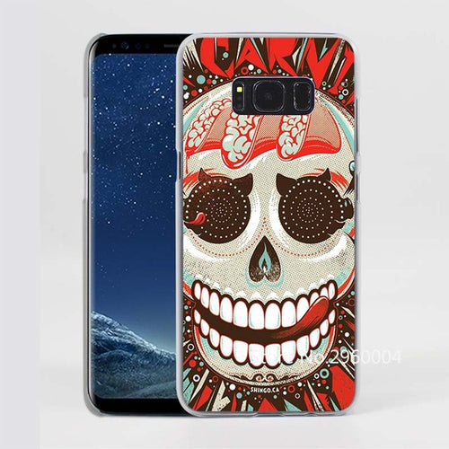 Carnival Skull Pattern Clear Phone Case for Samsung Galaxy Phones
