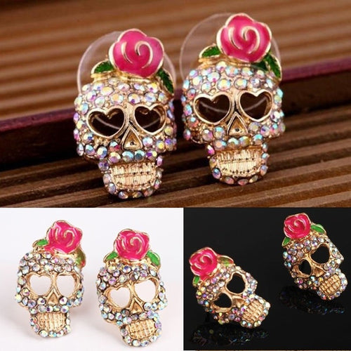 Cute Pink Rose Rhinestone  Skull  Earrings