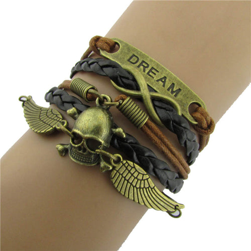 Multilayer Wings Skull Leather Bracelet