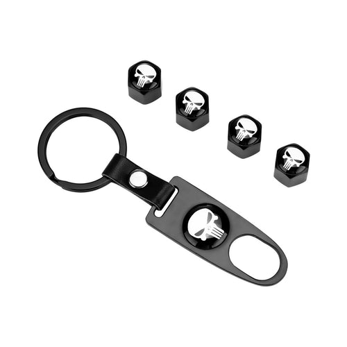 4pcs Car Tire Valve Cover Combo with  Key Chain - Skull