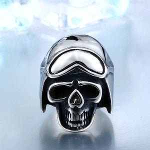 Stainless Motorcycle Biker Skull Man's Ring