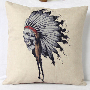 Indian Skull Cotton Pillow Case