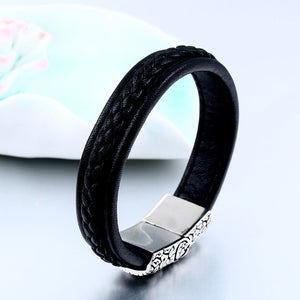 Leather Skull Bracelet Bangle For Man