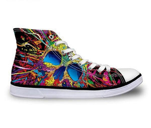 Colorful Paint Skull Canvas Shoes