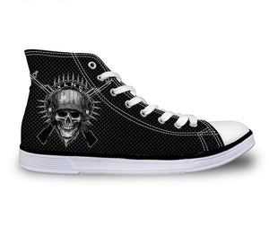 War Skull Canvas Shoes - Men's High Top
